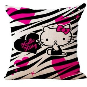 Hello Kitty Zebra & Pink Pillow Cover 18 x 18 in